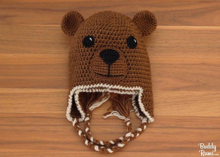 2144c171194 Bear crochet hat with braids
