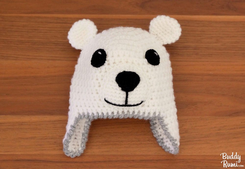 Polar bear crochet hat with earflaps for babies