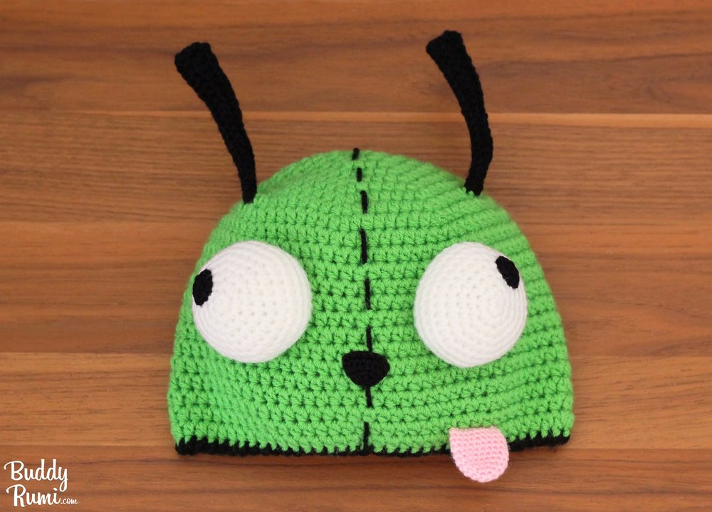 Gir green alien with crazy eyes crochet hat