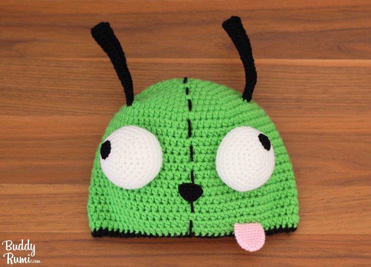 04025d7726d Gir green alien with crazy eyes crochet hat