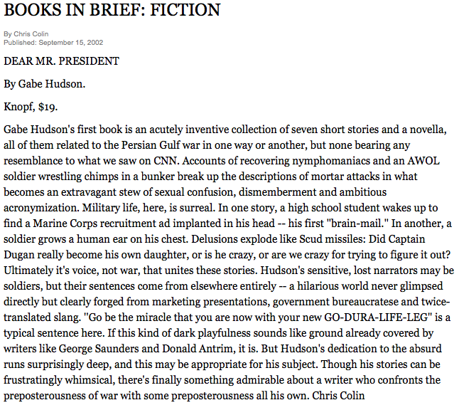 New York Times A short review of Gabe Hudson's story collection.