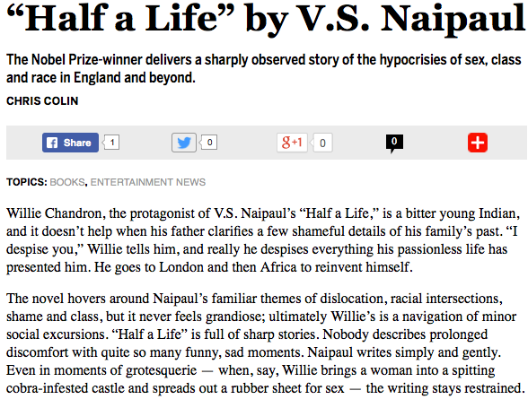 Salon A review of the V.S. Naipaul novel.