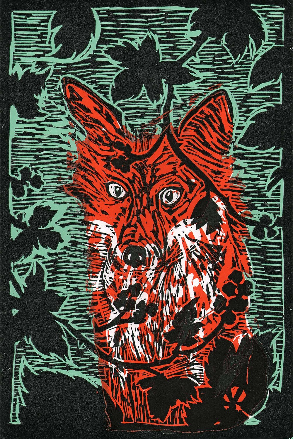 """Fox In The Brambles"" – original linocut print limited edition of 85, 21 x 30 cm."