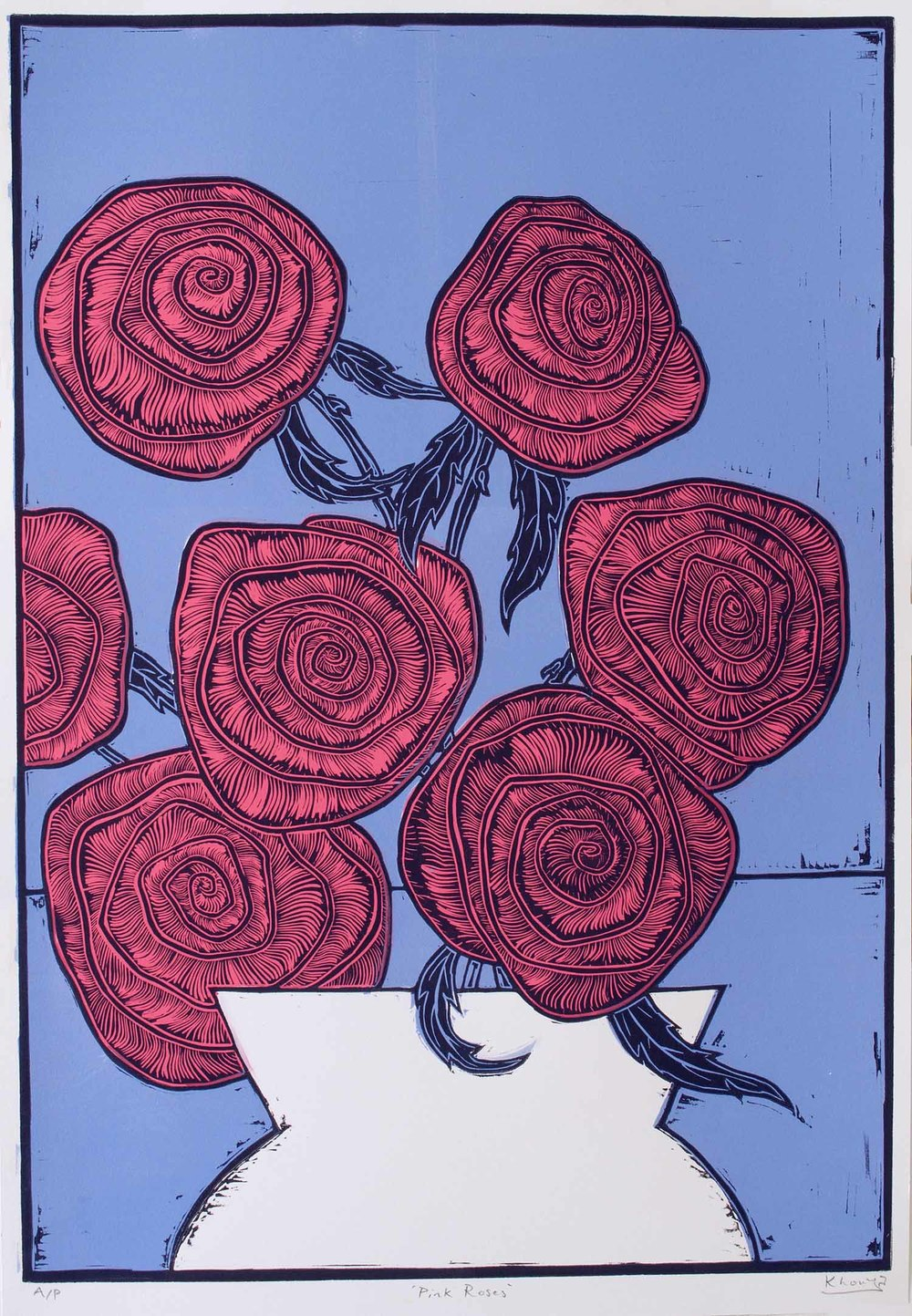"""Pink Roses"" – original linocut print limited edition of 35, 44 x 64 cm."