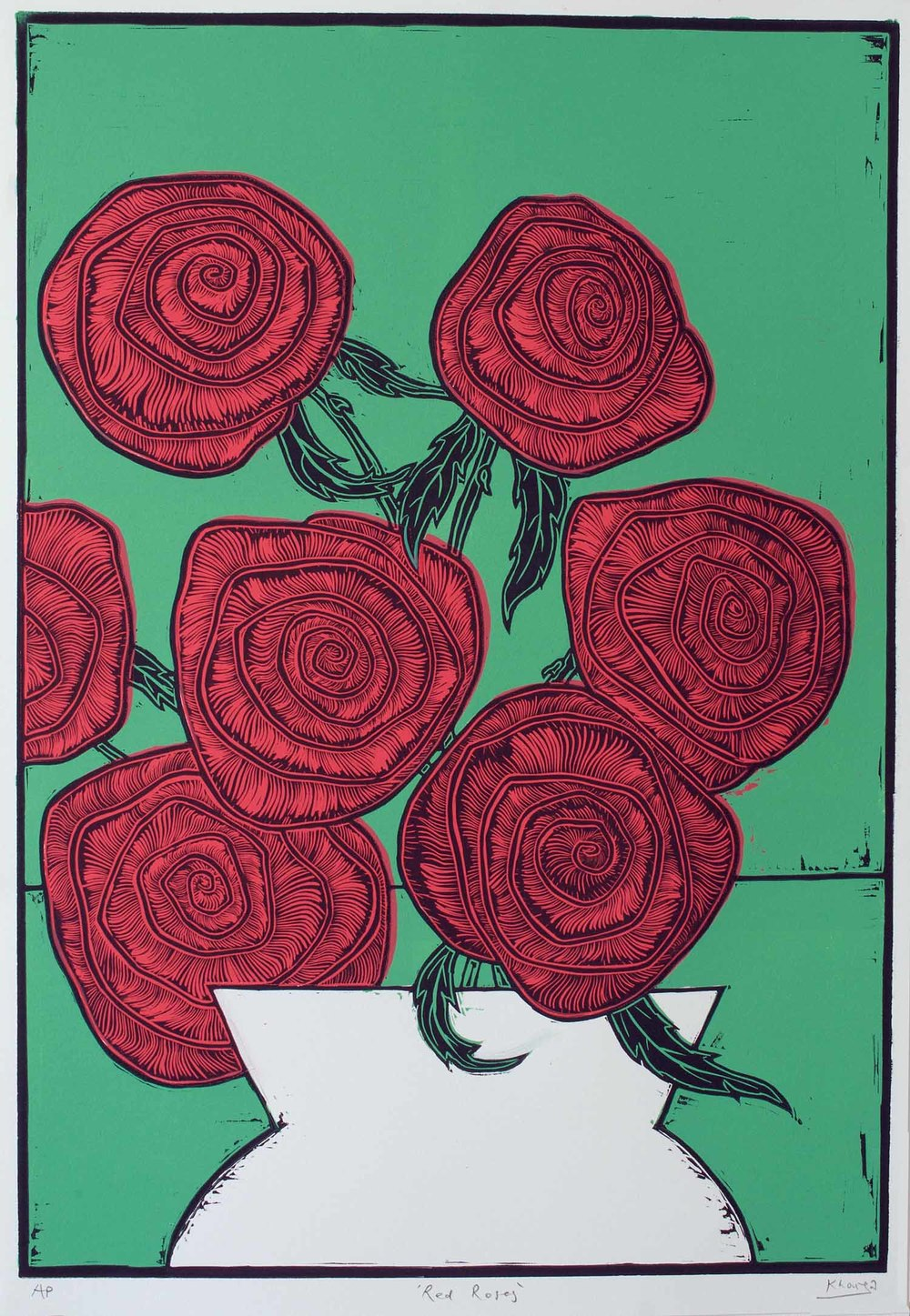 """Red Roses"" – original linocut print, limited edition of 35, 44 x 64 cm"