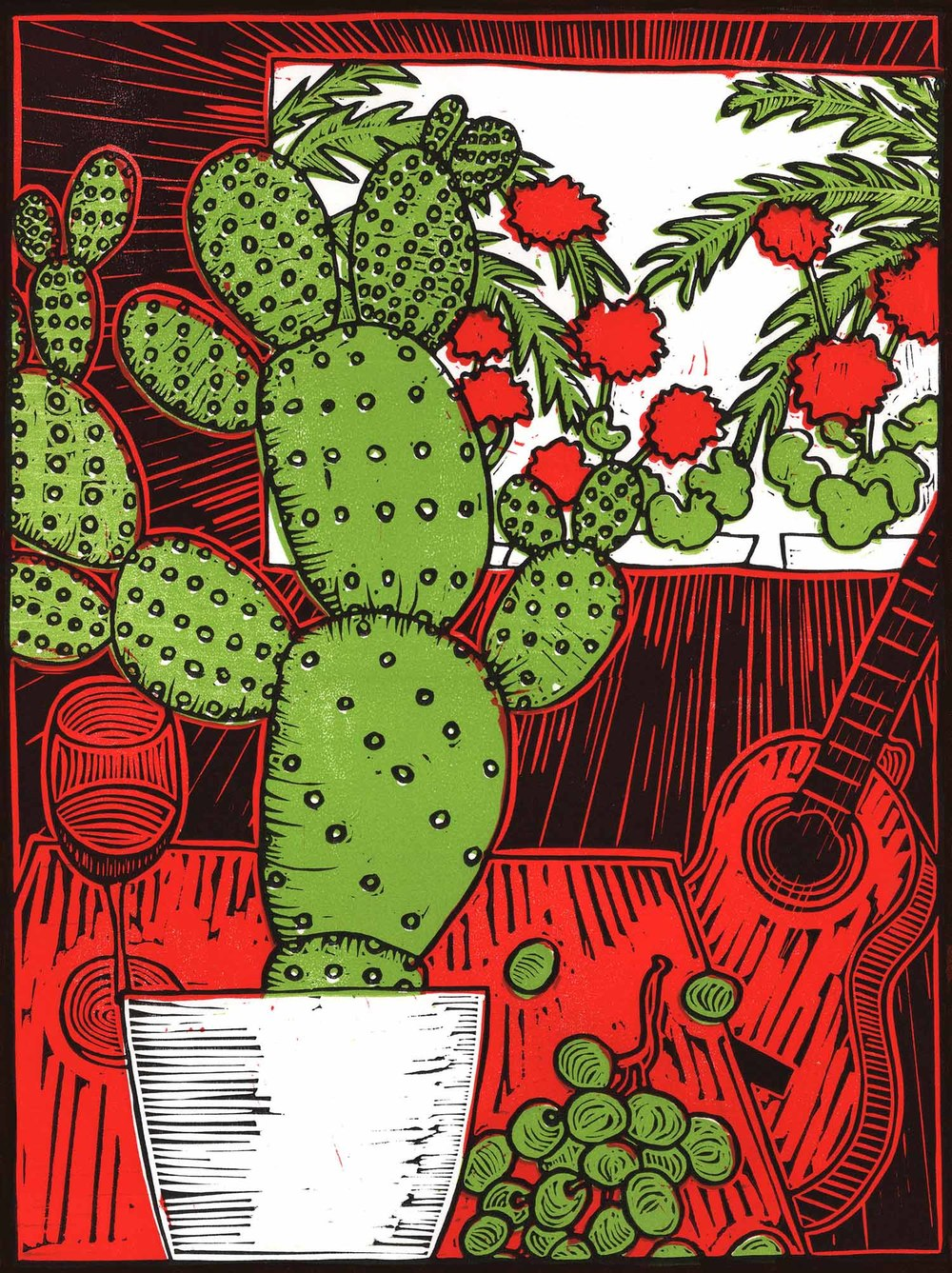 """Still Life With Cactus"" – original linocut print limited edition of 55, 30 x 40 cm."