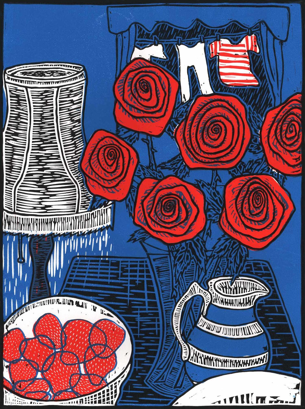 """Still Life With Roses"" – original linocut print limited edition of 55, 30 x 40 cm."