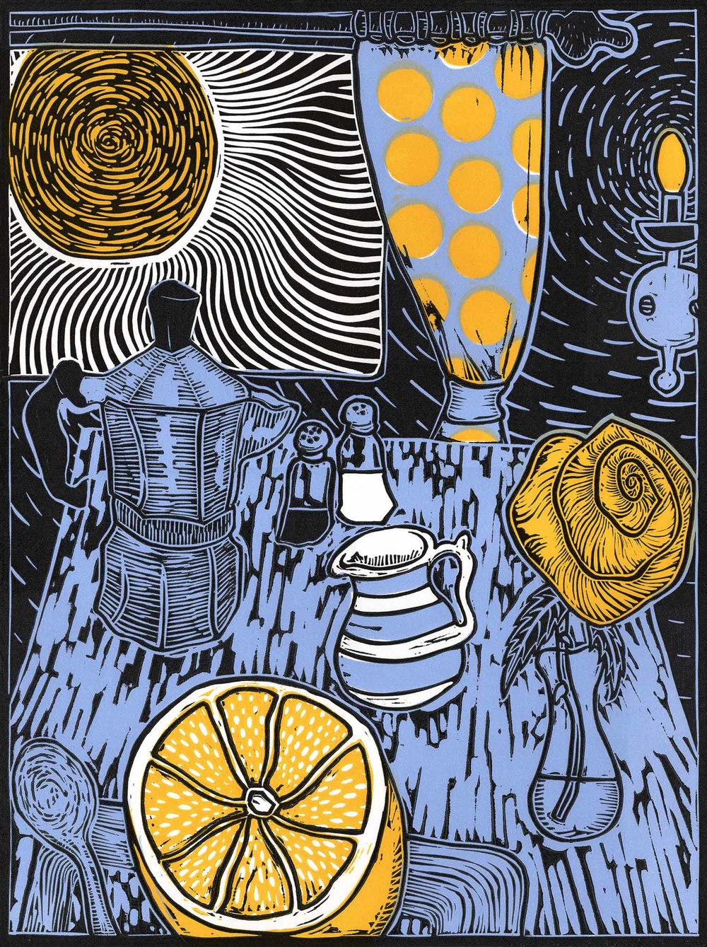 """Still Life With Sunshine"" – original linocut print limited edition of 55, 30 x 40 cm"