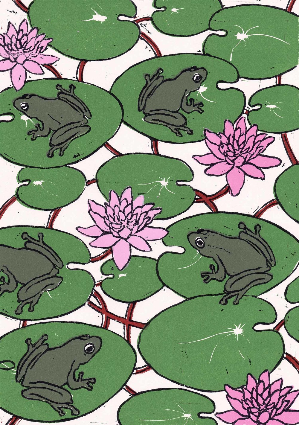 """Waterlilies"" – original linocut print limited edition of 70, 21 x 30 cm."