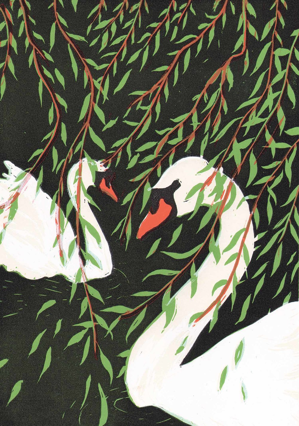 """Willows"" – original linocut print limited edition of 70, 21 x 30 cm."