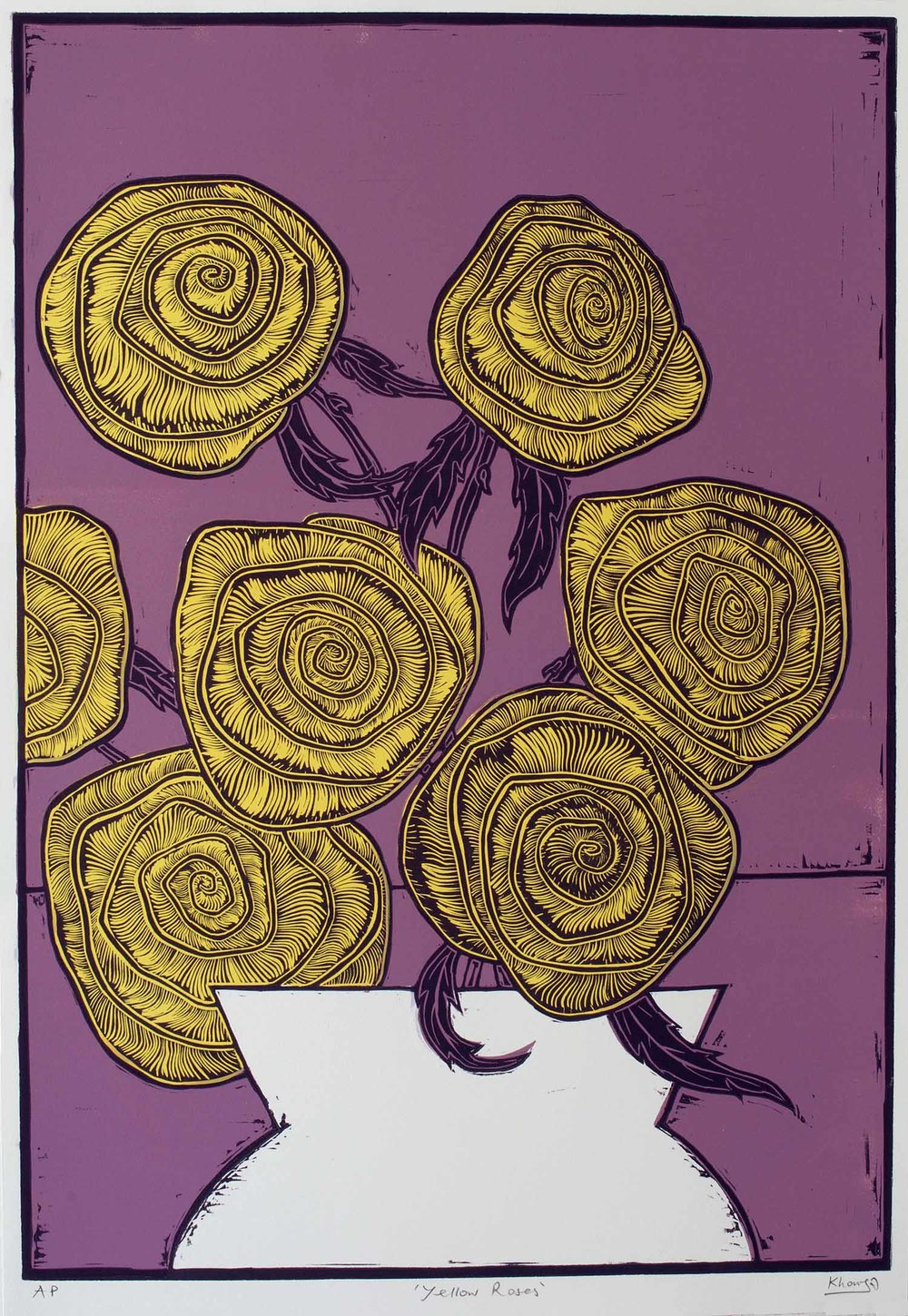 """Yellow Roses"" – original linocut print, limited edition of 35, 44 x 64 cm"