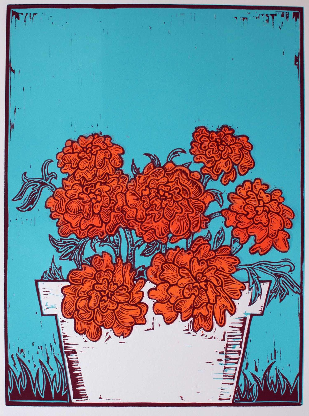 """Pot of Marigolds"" – original linocut print limited edition of 60, 40 x 30 cm."