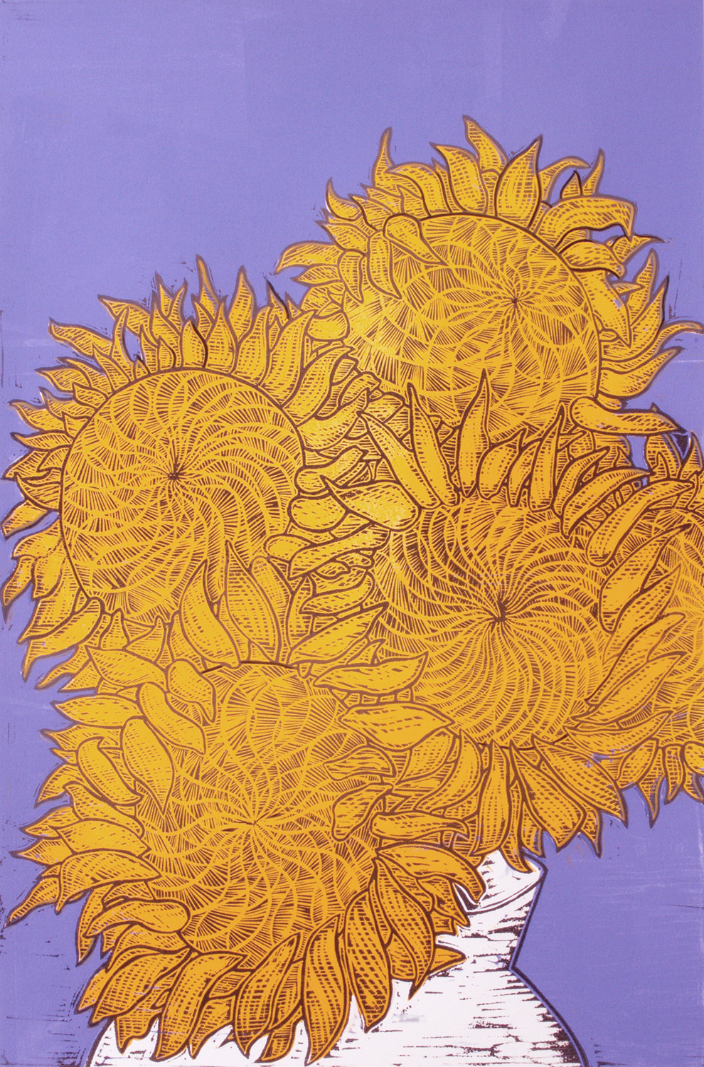 Original linocut print with sunflowers by Faisal Khouja