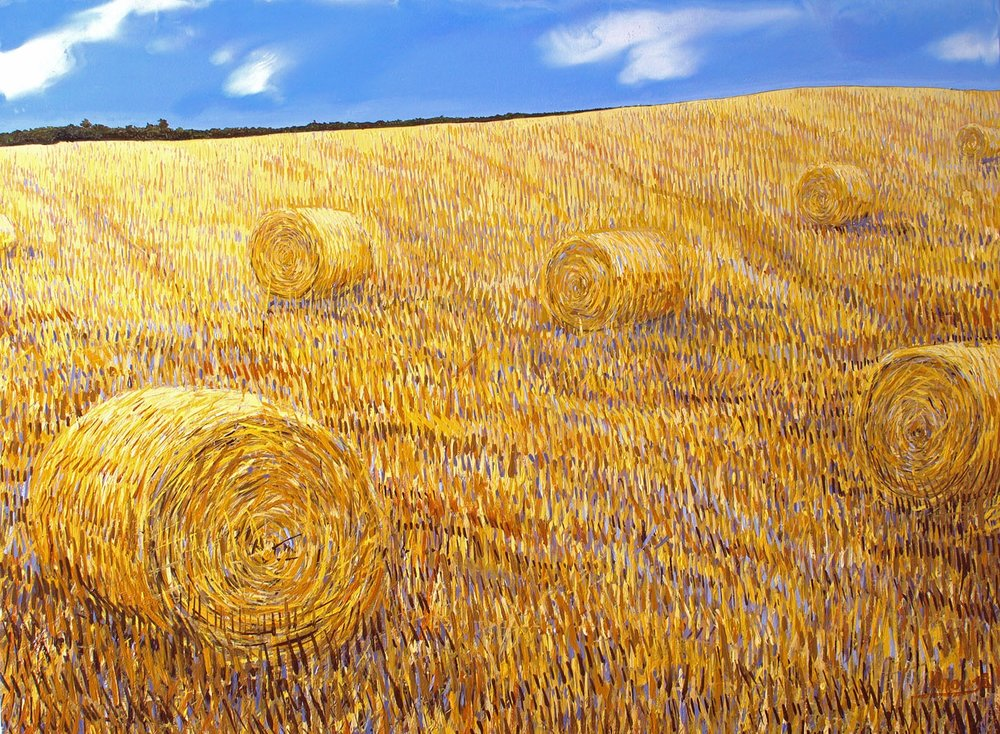 Hayfield oilpainting on board by artist Faisal Khouja