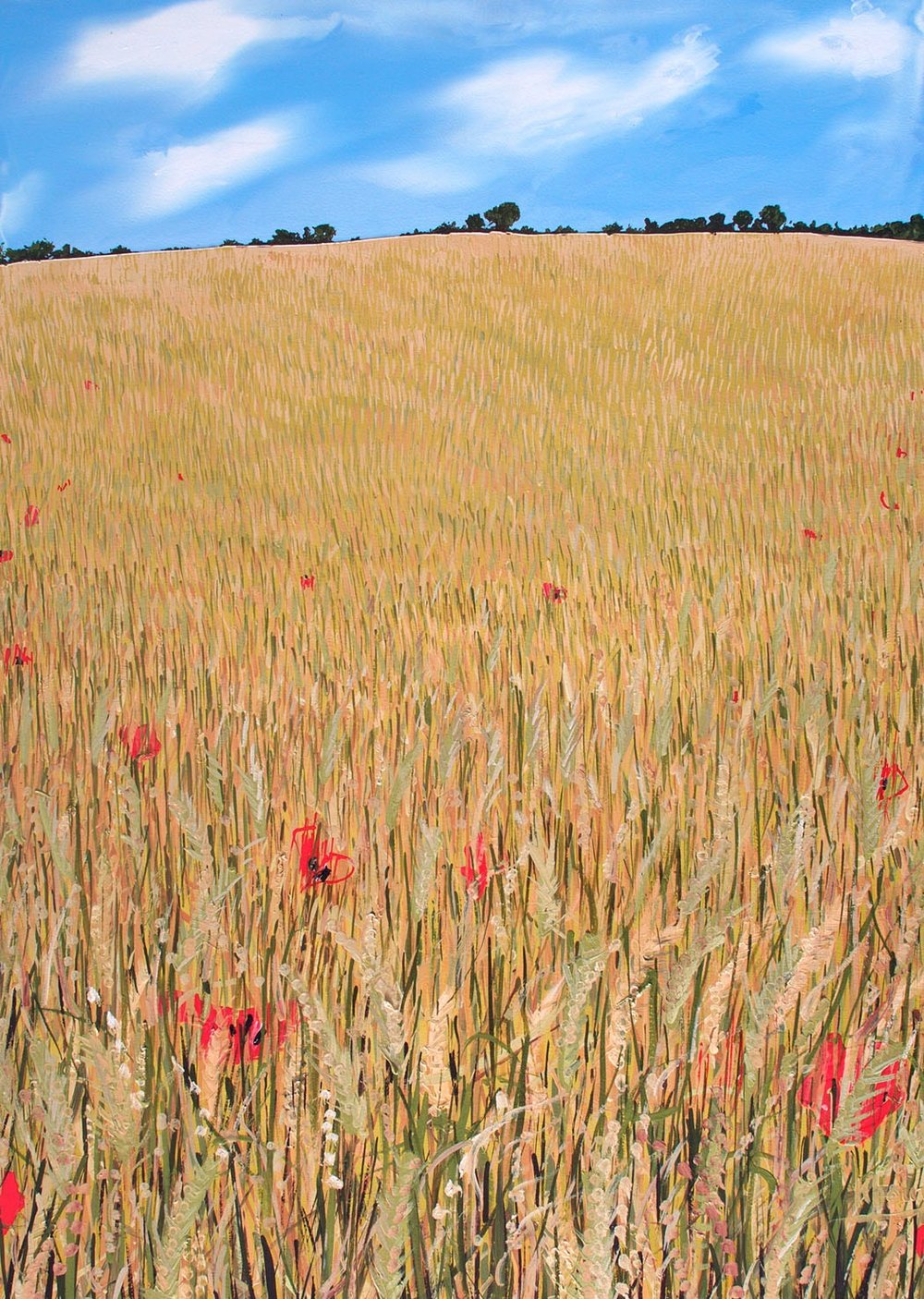 Wheat field with red poppies oil painting on board by artist Faisal Khouja