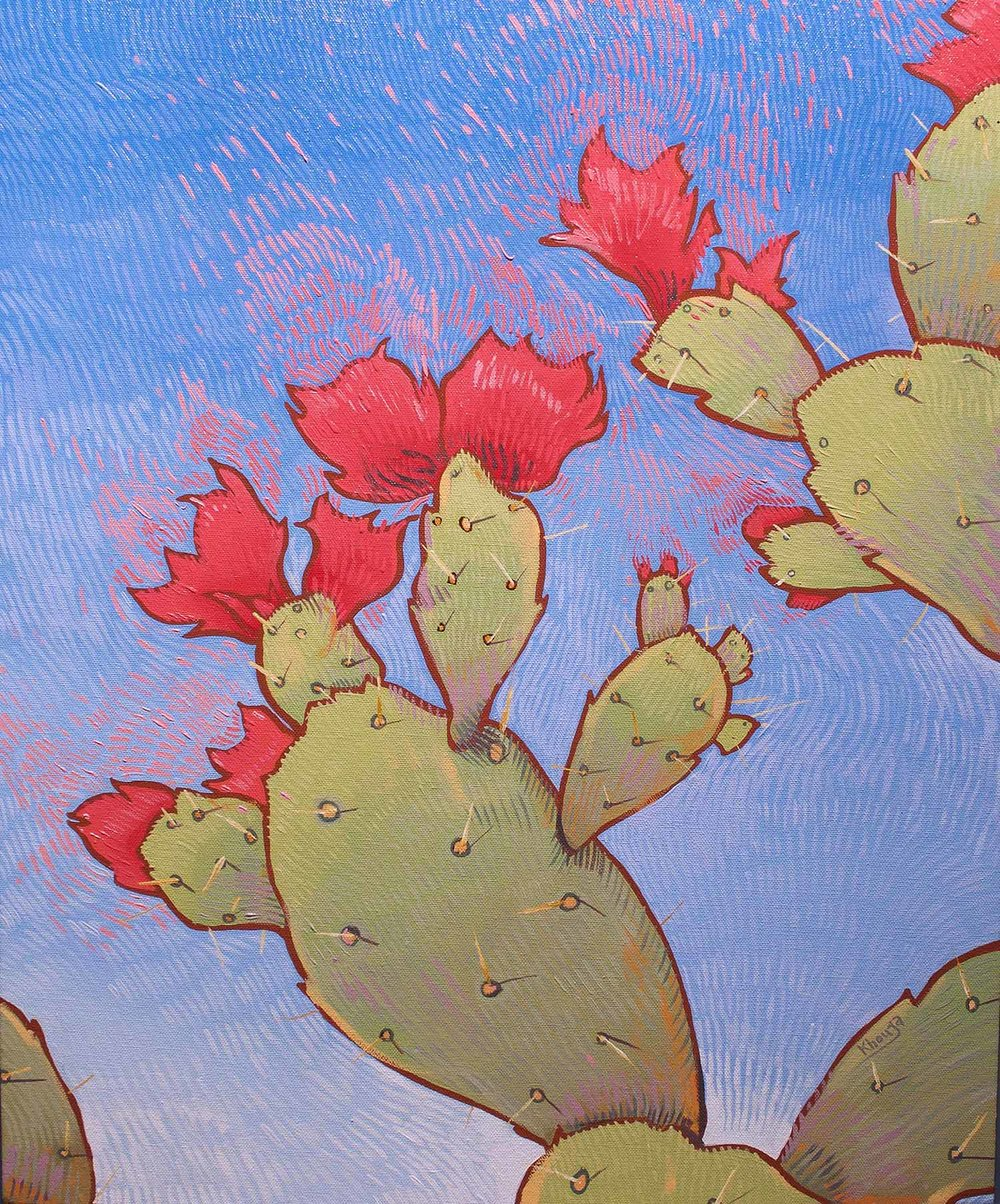 Blazing glory two cactus impressionist oil painting Faisal Khouja.jpg