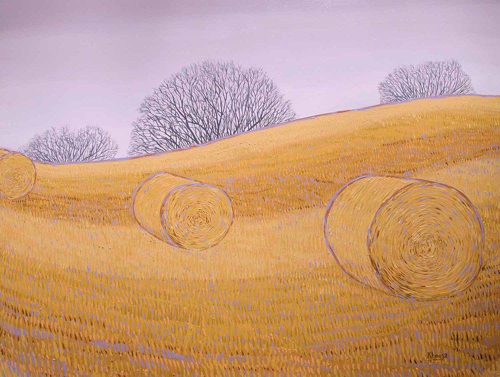 Golden fields one wheatfield strawbales expressive oil painting Faisal Khouja.jpg