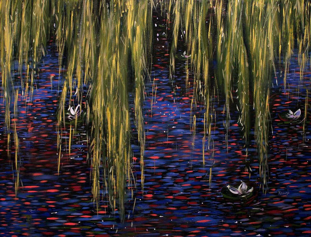Lake with blue and pink one weeping willow waterlilly impressionist oil painting Faisal Khouja