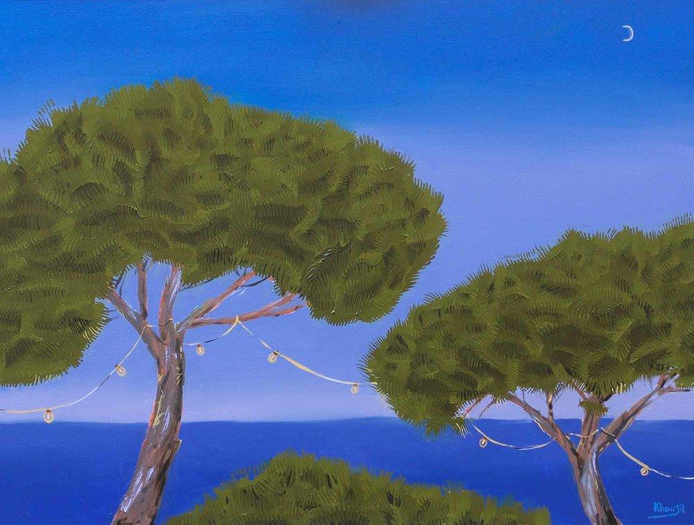 Stone pines three mediterranean trees seascape expressive oil painting Faisal Khouja.jpg
