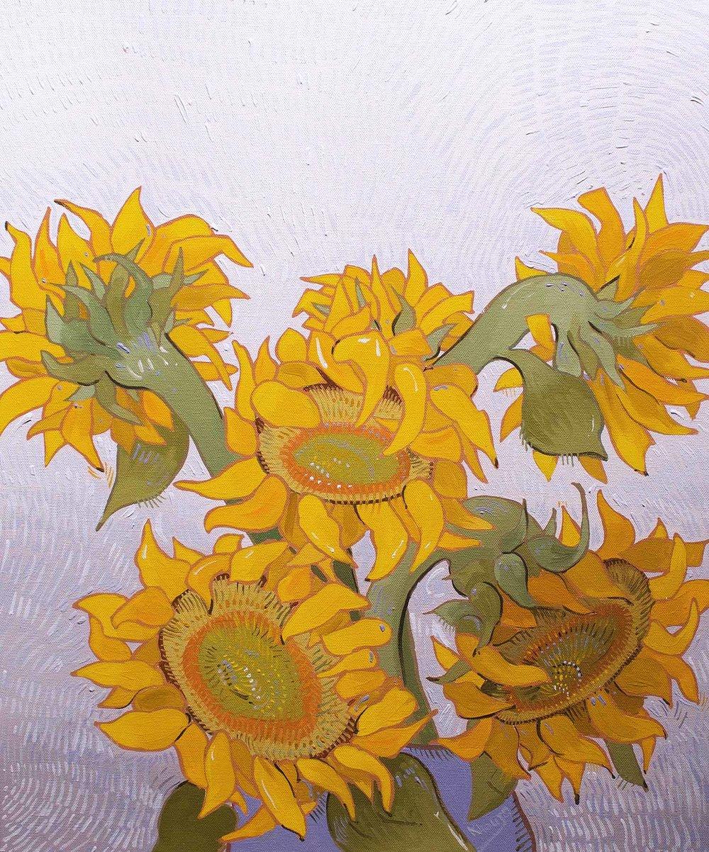 Sunflower heads two in vase expressive oil painting Faisal Khouja.jpg