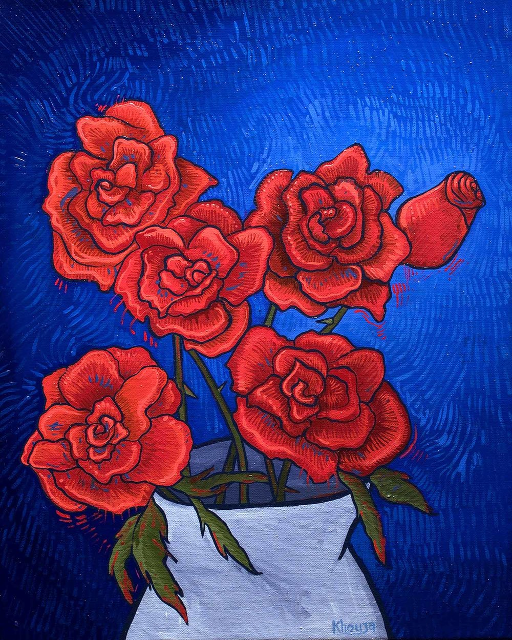 Vase of roses one red impressionist oil painting Faisal Khouja.jpg