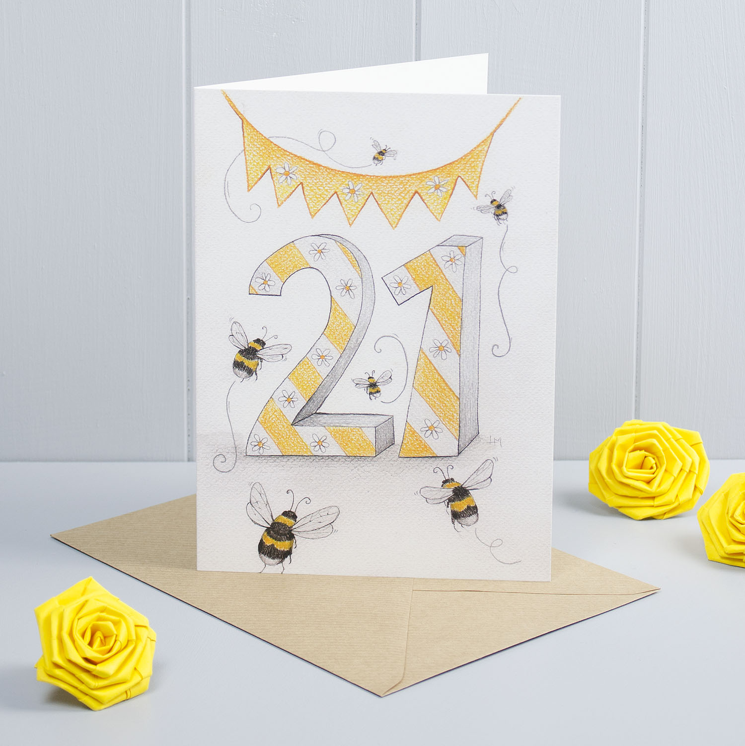 Bumble Bee Happy 21st Birthday Greeting Card Faisal Khouja