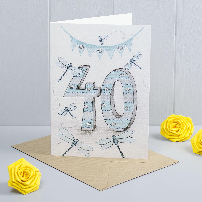 Dragonfly Happy 40th Birthday Greeting Card Faisal Khouja