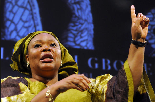 Leymah Gbowee speaking at a Columbia Business School Conference/Timothy A. Clary/AFP/Getty Images/Newscom