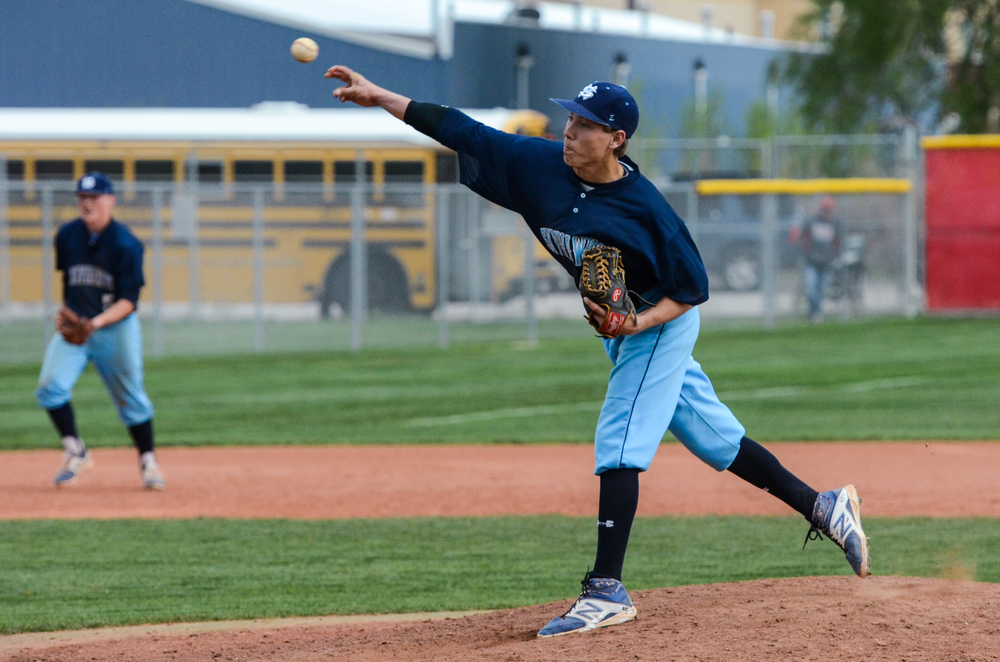 Skyhawk pitcher Austin Hanks in the game played at Spanish Fork on April 22nd.