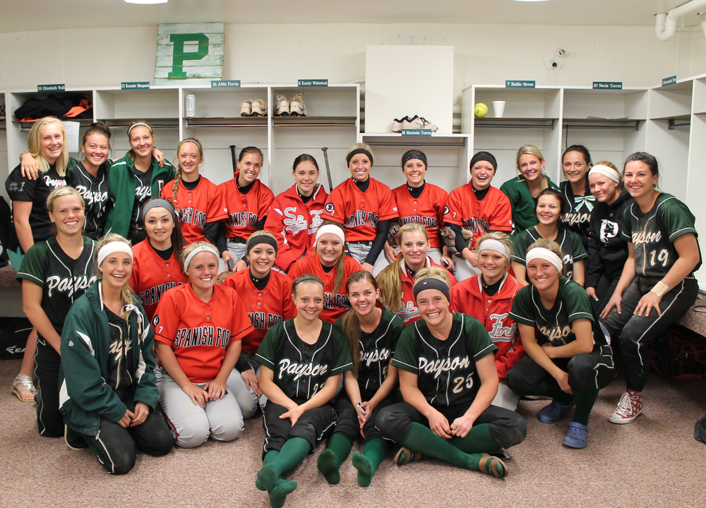 Pictured are the Payson High School and Spanish Fork High School Softball teams.  Both teams have finished with laudable records.  Find out more about these outstanding young athletes in the May 14, 2014, edition of The Payson Chronicle.  Photo by Michael Olson.