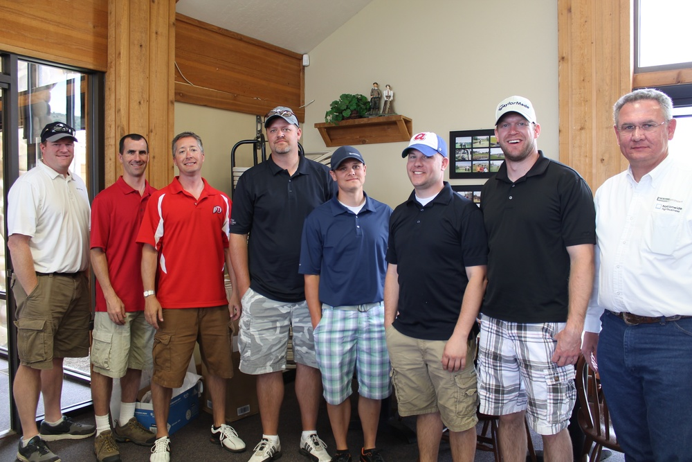 Team members include Cody Menlove, Kris Distefanto, Brad Laing, and Justin Goodrich; Kiwanis Club representatives in the photo include, left to right: Todd Lambourne, Josh Webster, Colin Logue, and Richard Behling.  See both this and next week's editions of The Payson Chronicle for photos taken during Friday's tournament at Gladstan Golf Course.