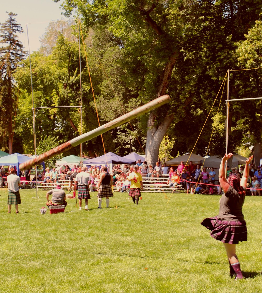 Impressive athleticism during the women's caber toss competition at the 2014 Payson Scottish Festival.  See this and other photos in this week's edition of The Payson Chronicle.