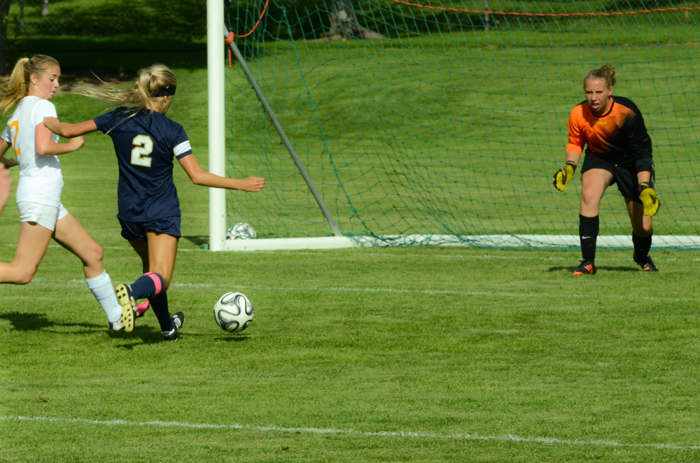 Pictured: Paige Robins (#2) with a shot on goal against Mountain View on August 19, 2014.  She holds the school record for career goals at 41.  Photo by Todd Phillips (see picmeshining.com for more)