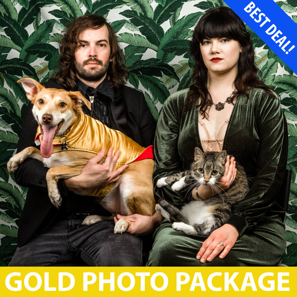 $150 - 45 minute studio session with YOUR CHOICE of backdrop1-2 people + 2 pets OR 2 people + 1 infant + 2 pets5-7 professionally retouched photos1 5x7 photo print
