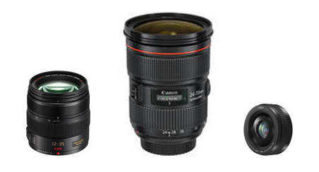 A Panasonic 12-35mm f/2.8 zoom, a Canon 24-70mm f/2.8 zoom and a Panasonic 20mm f/1.7 prime