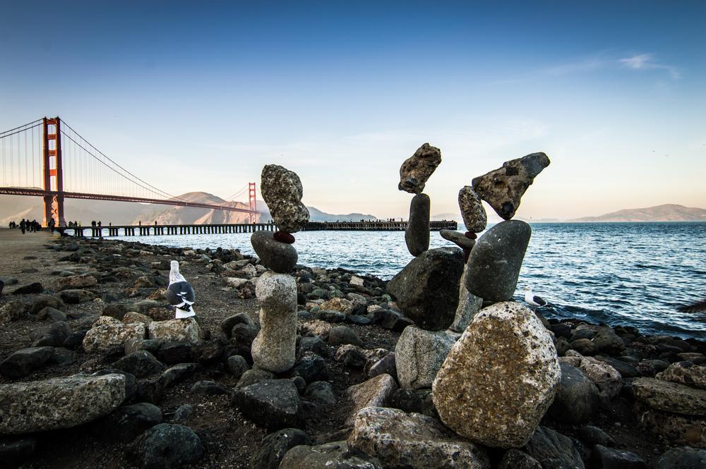 Stacked rocks in front of Golden Gate Bridge