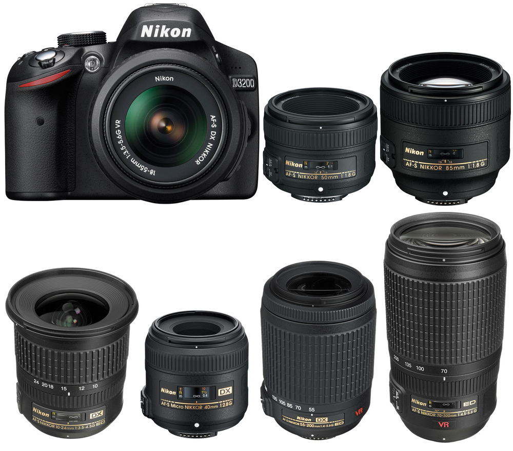 The Nikon D3200 and some popular lenses!