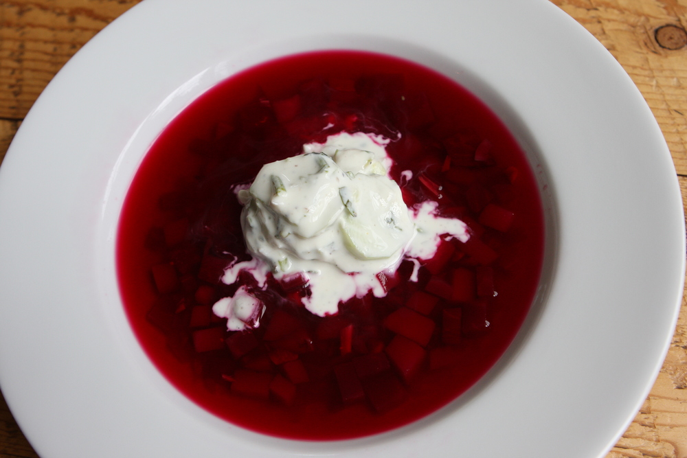 Chilled Borsht with Cucumber Yogurt Salad