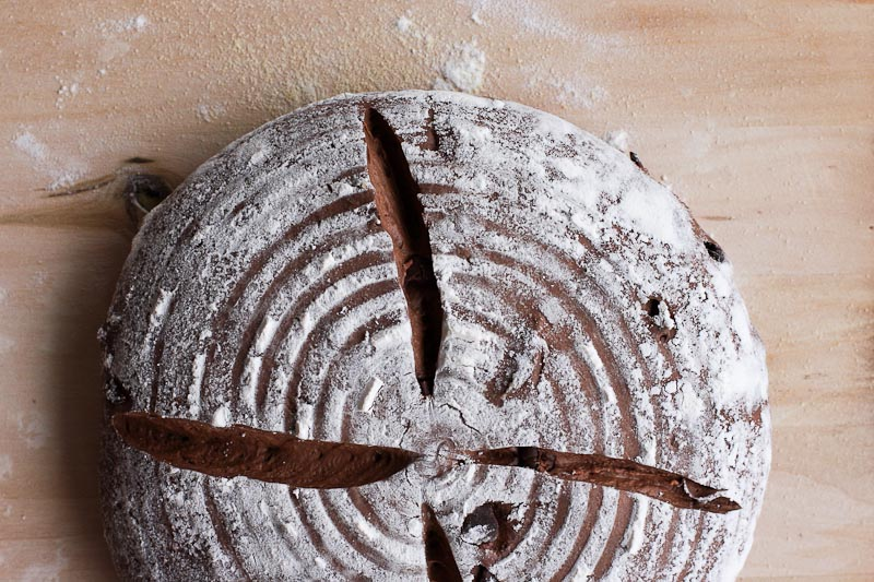Chocolate Sourdough Boule before baking