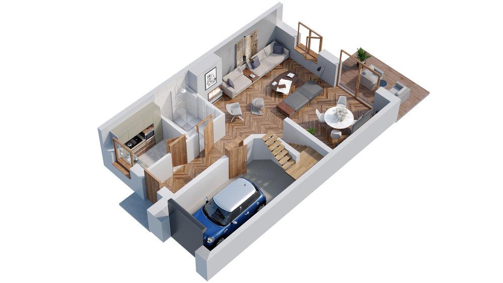 Ekodom-Wizualizacja mieszkania, rzuty 3D