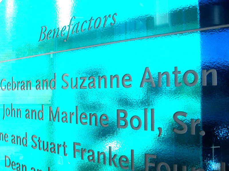 ANTON ART CENTER: Etched Glass Donor Wall