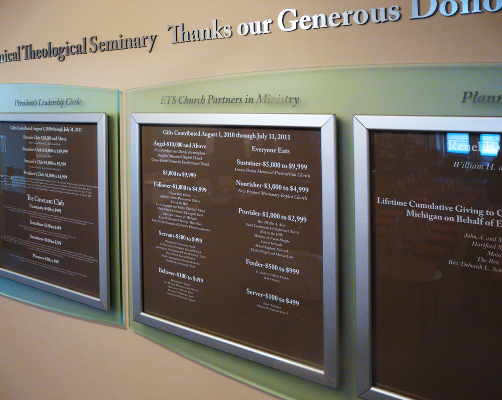ECUMENICAL THEOLOGICAL SEMINARY: Donor Wall