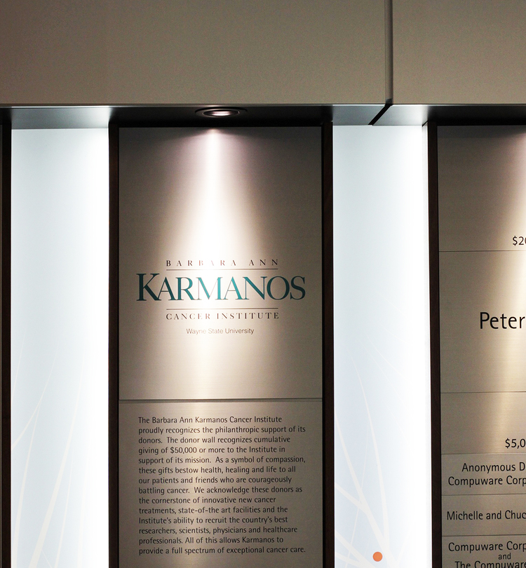 KARMANOS CANCER CENTER: Accumulative Donor Wall