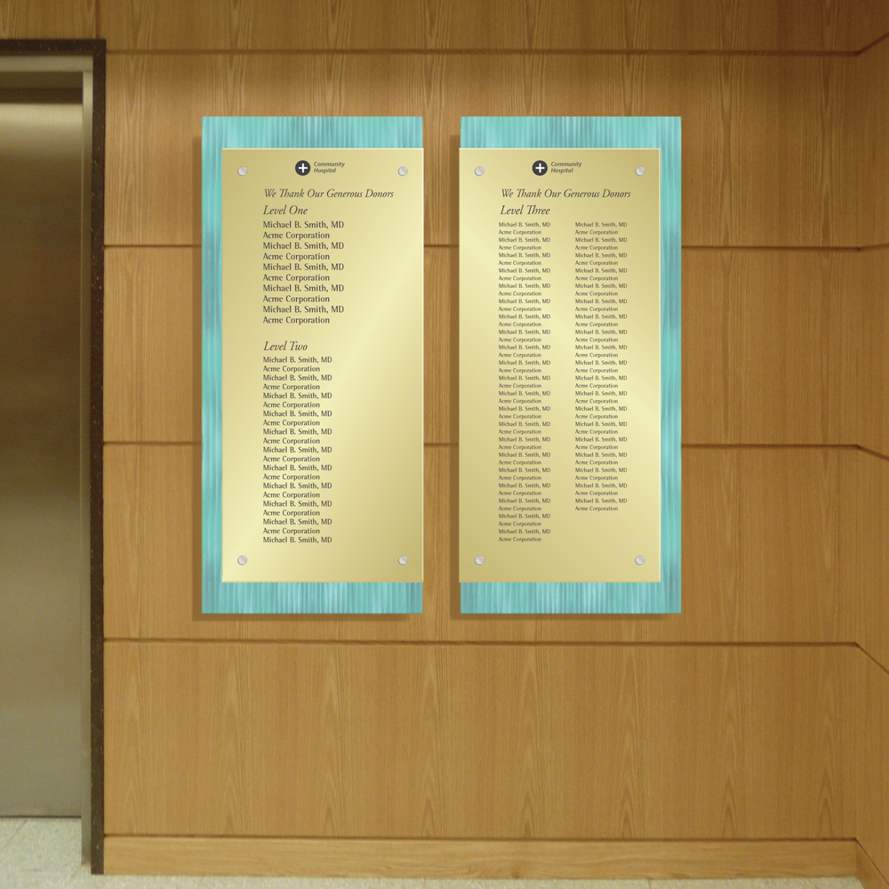 Contemporary Donor Recognition Wall Made from Acrylic and Bronze