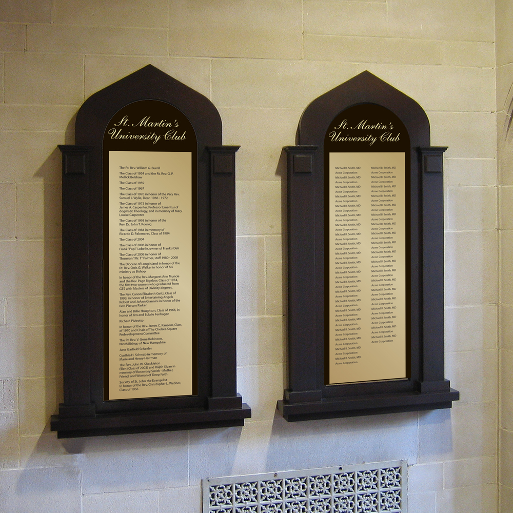 Traditional Donor Recognition Wall with Gothic design made with Wood Background