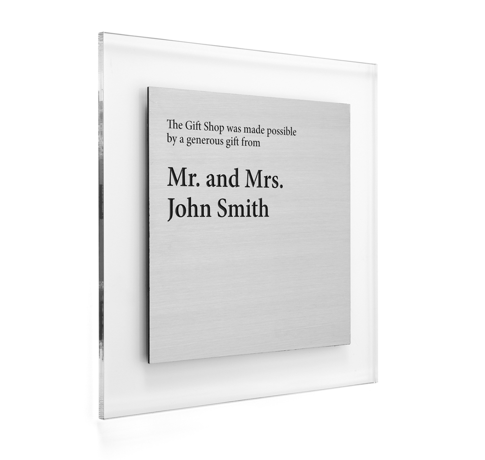 See the options below, choose plaque face color and choose clear or frosted acrylic back plate.