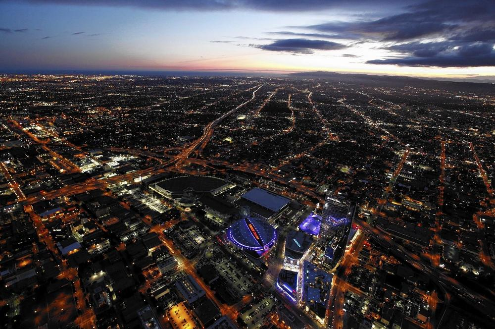 An aerial view of the L.A. Live entertainment complex in downtown Los Angeles. (John W. Adkisson, Los Angeles)