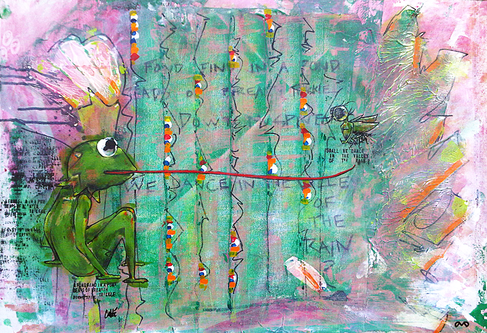 Kermit Green  acrylic, ink on canvas 27 in x 18 in
