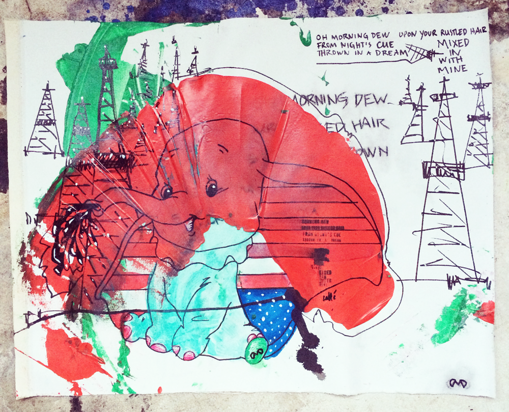 Dumpy  acrylic, ink on canvas 27 in x 18 in - sold -