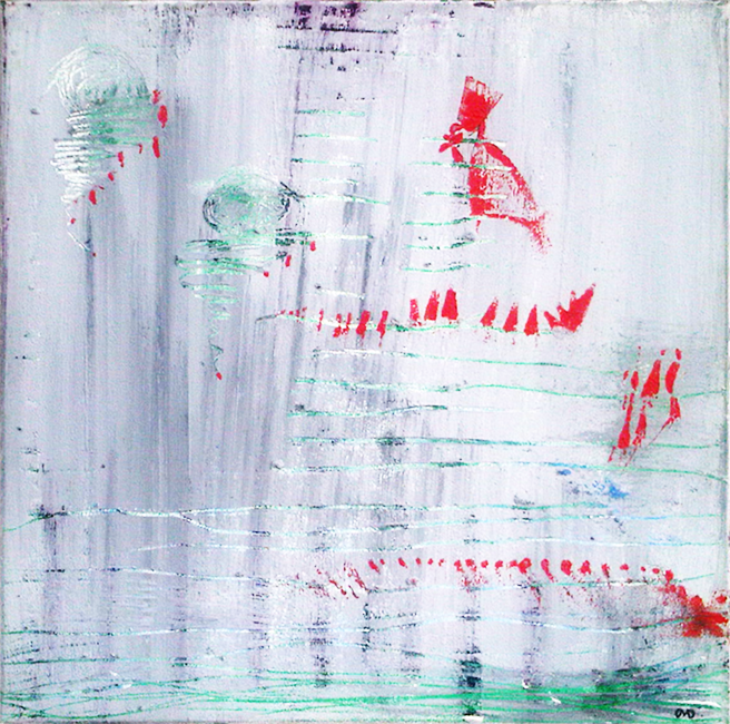 Hummingbird  acrylic, ink, oil crayon on canvas 24 in x 24 in - sold at auction -